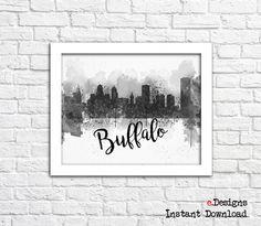 Printable Buffalo Watercolor Poster Buffalo Skyline by eDesignss