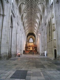 The Interior of Winchester Cathedral (A Church of England cathedral in Winchester, Hampshire, England. It is one of the largest cathedrals in England, with the longest nave and greatest overall length of any Gothic cathedral in Europe.)
