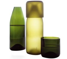 Hand-cut by Guatemalan craftsmen from recycled post-consumer wine bottles, this carafe includes a matching lid that doubles as a tumbler. Available in equallybeautiful polished or satin finishes, Artecnica's tranSglass line is included in the permanent collection of the MoMA. Say hello to gorgeously functional art for your home.