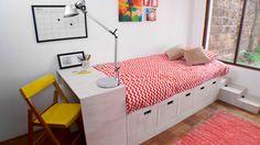 En este proyecto construiremos una cama con cajones y escritorio, donde es prioritario tener espacio de almacenaje. Además como es modular se adapta a cualquier tamaño de dormitorio y a la vez muy cómoda para trasladar en una mudanza y el poco espacio de algunas escaleras. Build A Frame, Diy Kids Furniture, Bedroom Storage, Creative Decor, Ikea Hack, Diy For Kids, Interior Inspiration, Master Bedroom, Kids Room