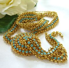 Miriam Haskell Style Necklace Turquoise by BuyVintageJewelry, $125.00