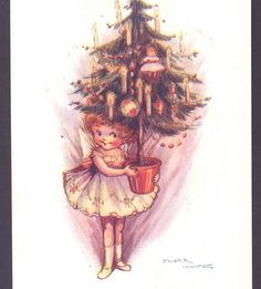 FAIRY HOLDS POTTED CHRISTMAS TREE. FLORA WHITE