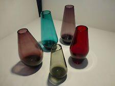 Konvolut 5 Glasvasen farbig  Eames Wagenfeld Ära 60er  Sammlerstücke