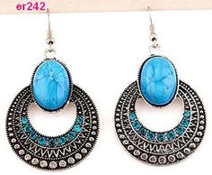 blue Tibetan Silver rotundity Crystal Earrings