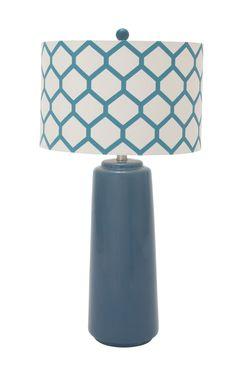 Ceramic Metal Blue Table Lamp