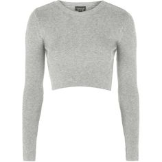 TOPSHOP Ribbed Crew Neck Cropped Jumper (£15) ❤ liked on Polyvore featuring tops, sweaters, crop tops, shirts, long sleeves, grey marl, cropped sweater, crop top, grey crop top and long sleeve crop top
