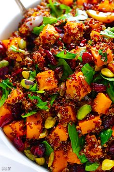 Quinoa 'Stuffing' (Quinoa with Butternut Squash, Cranberries & Pistachios #glutenfree #vegan #meatlessmonday