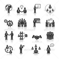 Business people meeting at office conference presentation icons set isolated vector illustration. Editable EPS and Render in JPG f