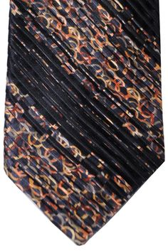Vitaliano Pancaldi PLEATED SILK Tie Black Gray Peach Gold Geometric
