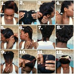 Hairstyle ~ Flat twists + pompadour