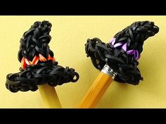Rainbow Loom Charms Halloween Witch Hat. Loom Bands Pencil Topper Charm