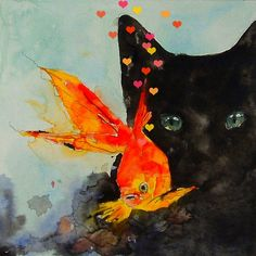 """""""Black cat, Gold fish"""" watercolor by my name is o..."""