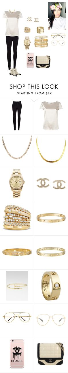 """All I see is Gold"" by chicmariaa ❤ liked on Polyvore featuring Citizens of Humanity, Armani Collezioni, Luna Skye, Rolex, Chanel, David Yurman, Cartier and Gucci"