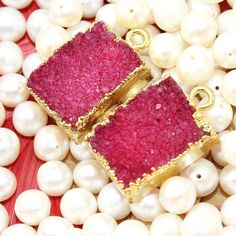 Zj7281 Sale Red Sugar Druzy Gold Plated Handmade Fashion Connector Jewelry  2Pcs #Handmade #Connector