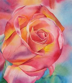 """""""SOUTHERN ROSE watercolor floral painting"""" - Original Fine Art for Sale - © Barbara Fox"""
