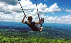 Swing in the Amazon jungle, Ecuador