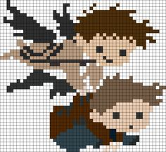 Castiel And Dean Perler Bead Pattern | Bead Sprites | Characters Fuse Bead Patterns