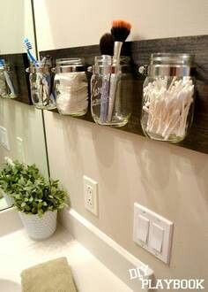 Bathroom storage: a variation of this would work between backsplash and mirror. Would prefer non-glass option