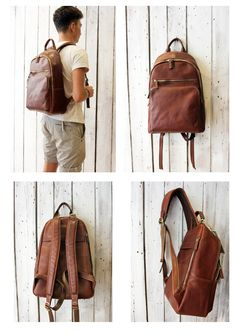 Large  Brown Handmade Italian Leather backpack  gift di LaSellerieLimited su…