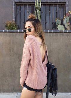 V-Neck Pullover Dusty Pink