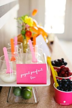 Yogurt parfait bar: http://www.stylemepretty.com/living/2015/04/30/20-ideas-for-the-ultimate-mothers-day-brunch/