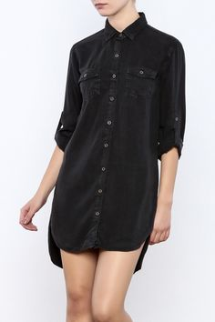 Soft tencel button down shirt dress with roll up sleeve and rounded hem with high low detail.   Tencel Shirt Dress by Sneak Peek. Clothing - Dresses - Casual Long Island