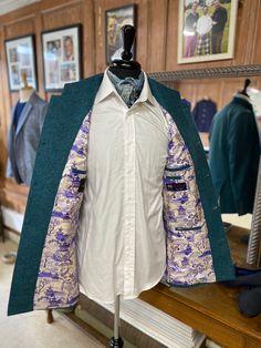 Japanese inspired lining in a bespoke tweed nehru jacket Bespoke Clothing, Nehru Jackets, Sling Backpack, Tweed, Japanese, Inspired, Bags, Clothes, Fashion