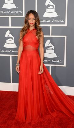 #red #longdress #fashion #Rihanna #Grammys