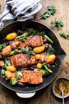 Sicilian Style Salmon with Garlic Broccoli and Tomatoes: made in one pan in 30 mins or less, delicious & pretty with minimal clean up! @halfbakedharvest.com