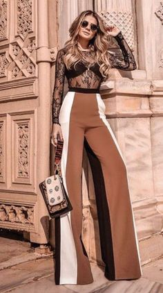 Spring And Summer Clothing Inspiration For Women 2018 18 - Hosen Fashion Pants, Look Fashion, Fashion Dresses, Womens Fashion, Fashion Design, Classy Outfits, Stylish Outfits, Elegantes Outfit, Mode Hijab
