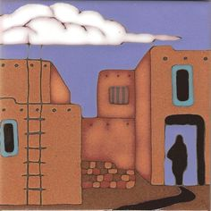 Taos Pueblo Hand Painted Ceramic Tile Original by PacificBlueTile, $29.95