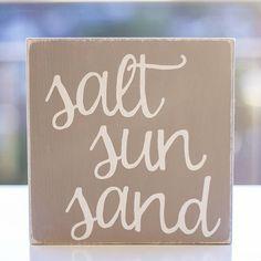SALT SUN SAND  Wood Sign  Rustic - Home Decor - Sea Side Art
