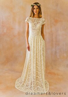 Ivory Lace Bohemian BACKLESS WEDDING GOWN with pockets!!!by Dreamersandlovers