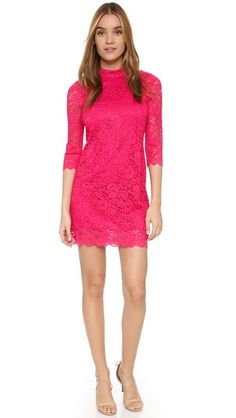 Rebecca Minkoff Janelle Dress in bright pink lace. Perfect for New Year's Eve! Wear it with neutral sandals and sparkling studs.