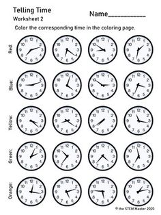 Telling Time Color by Number Line Tracing Worksheets, Writing Worksheets, Alphabet Worksheets, Worksheets For Kids, Multiplication Worksheets, Number Activities, Tracing Letters, Pre Writing, 3rd Grade Math