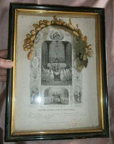 Cadre-Souvenir-premiere-communion-Mai-1878-Couronne-en-cire-gravure-pieuse