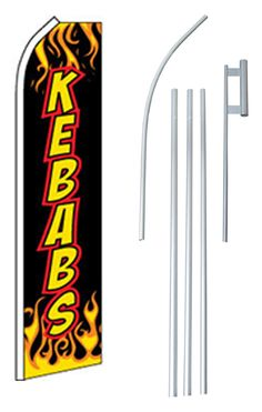 Kebabs Swooper Flag and Flagpole Set
