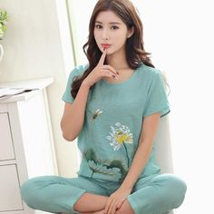 Novelty Green Chinese Women Cotton Pajamas Set Nightgown Print Floral  Pyjamas Suit 2 PCS Sleepwear Summer Home Clothes M-XXL 0d94faa5d