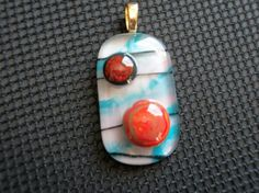 Colorful Abstract Fused Glass Pendant AB03A  DUNE GLASS