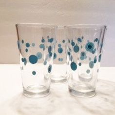 Vintage Libbey Glassware Retro Aqua Circles by TazamarazVintage