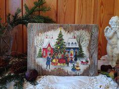 """Купить Панно """"Рождество"""" - комбинированный, панно, панно на стену, панно декупаж, панно из дерева"""