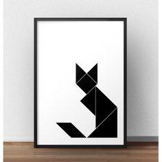 Geometryczny kot na pewno przypadnie do gustu każdej kociarze! Czarny, geometryczny kot dumnie prezentuje się siedząc na dolnym rogu plakatu.
