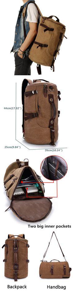 US$30.77#Men Dual-Use Canvas Bucket Backpack Jungle Climbing Bag Laptop Backpack Rucksack Duffel Bag