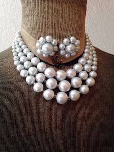 Vintage Faux Pearl Grey Triple Strand Necklace and by ArtDecoDame