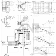 Isometric view and elevations architecture in 2019 for Escaleras metalicas planos