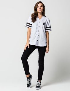 81858e6e1e8 YOUNG   RECKLESS Solid Play Womens Baseball Jersey Baseball Jersey Outfit