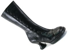 "Fluevog Babycake shoe / steampunk style ladies' button up boot in black leather with 3"" heel"