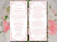 "Lace Wedding Program Template - Pale Pink Ceremony Program ""Bella Lace"" Instant Download Printable Wedding Tea Length Program DIY Wedding by PaintTheDayDesigns on Etsy"