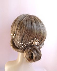 Pearls and Crystal bridal headpiece, wedding hair chain, wedding hair piece accessories, bridal hair jewelry Style 315