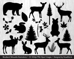 Woodland Silhouettes Clip Art Woodland Clipart Flower